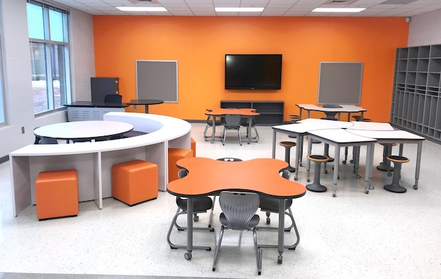 Classroom with flexible furniture at West Rowan Elementary School.