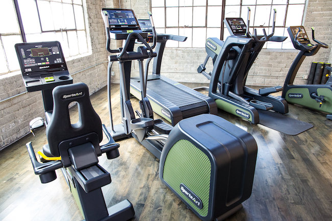 A row of fitness equipment.