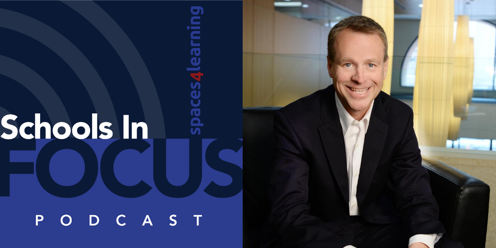 Schools In Focus Podcast logo and Stu Rothenberger