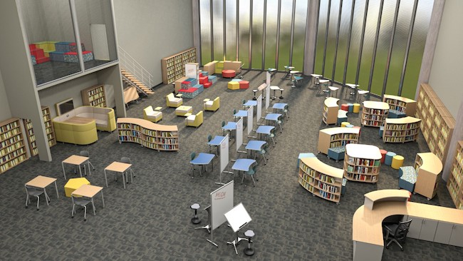 Flexible furniture to accommodate social distancing in a media center.
