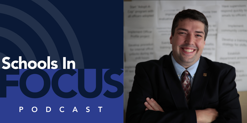 Schools in Focus podcast logo and Tom Saccenti