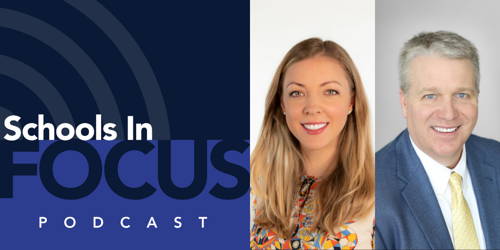 Schools In Focus podcast logo and Belinda Oakley, CEO of Chartwells K12, and Seth Ferriell, CEO of SSC Services for Education.