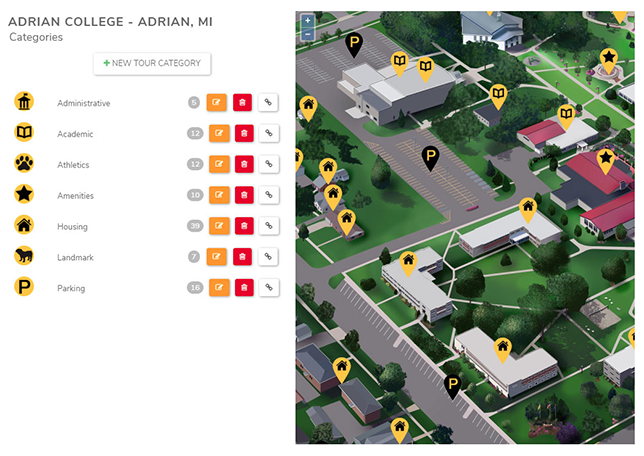 NuCloud interactive campus maps and virtual tours